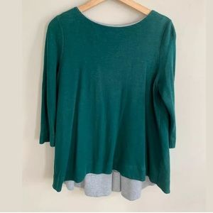 Cos 3/4 Sleeve Drapey Top Green Gray Size Medium